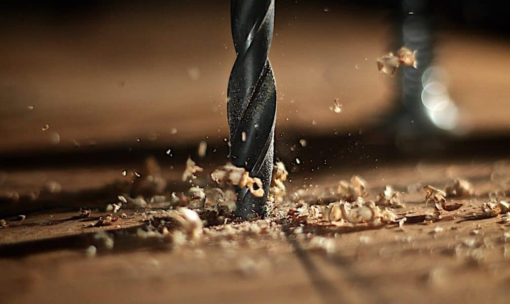 drill bit going into wood