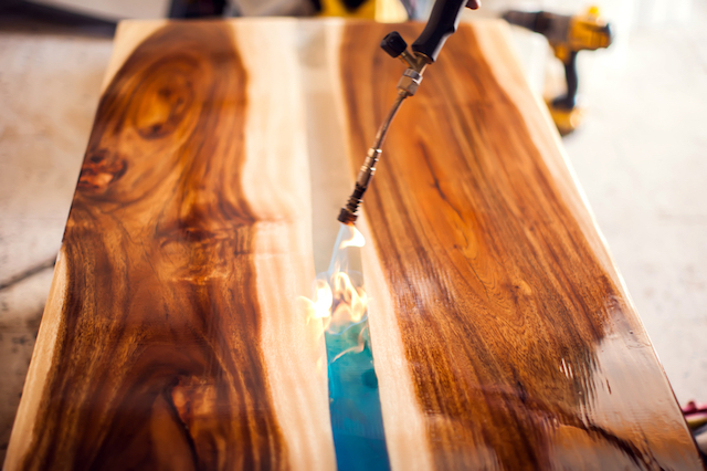 fire on epoxy table